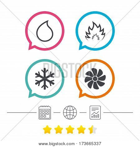 HVAC icons. Heating, ventilating and air conditioning symbols. Water supply. Climate control technology signs. Calendar, internet globe and report linear icons. Star vote ranking. Vector