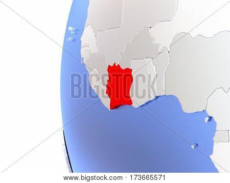Ivory Coast On Metallic Globe