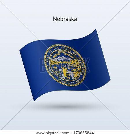 State of Nebraska flag waving form on gray background. Vector illustration.