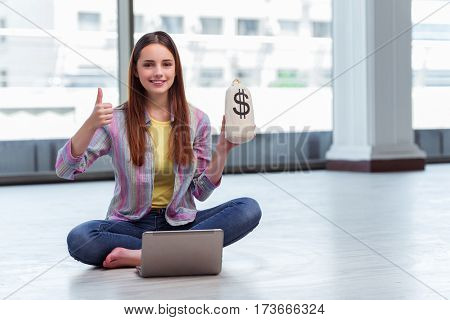 Young girl in online business concept
