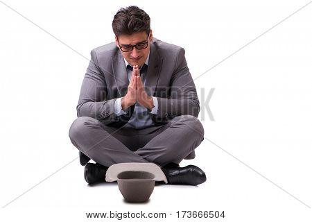 Bankrupt businessman isolated on white background