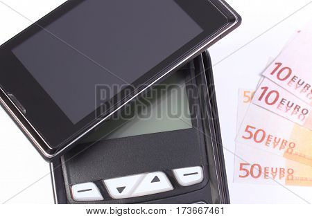 Payment Terminal With Mobile Phone With Nfc Technology And Currencies Euro, Cashless Paying For Shop
