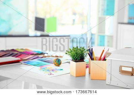Designer working place, closeup