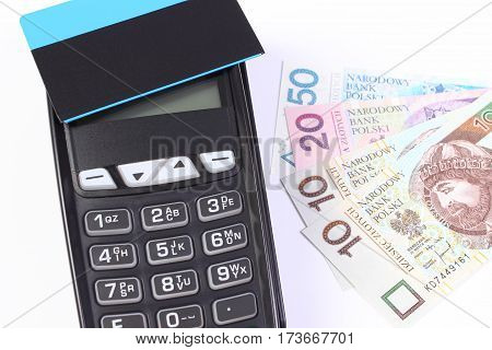Payment Terminal With Contactless Credit Card And Polish Money, Cashless Paying For Shopping Or Prod