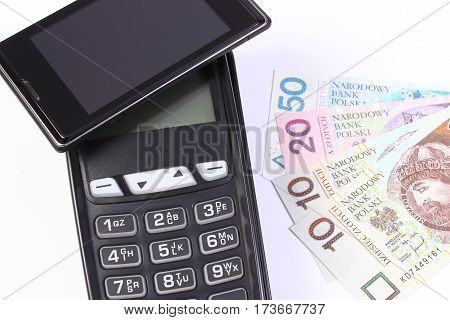 Payment Terminal With Mobile Phone With Nfc Technology And Polish Money, Cashless Paying For Shoppin