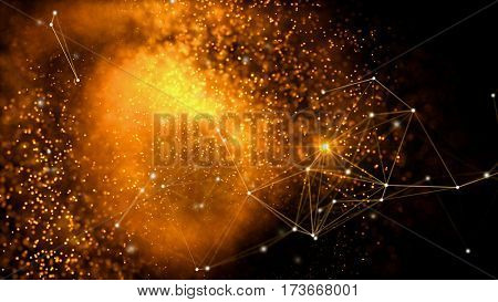 Elegant fantasy abstract technology, science and engineering background with golden particles and plexus lines. Star light. Depth of field settings. 3d rendering.