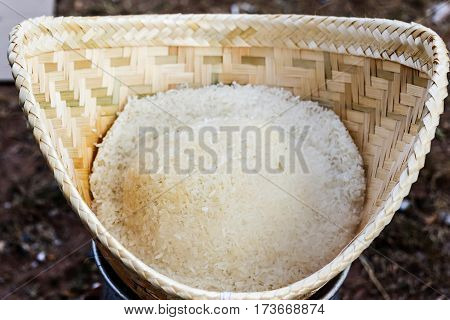 Traditional steamed sticky glutinous rice in thailand.