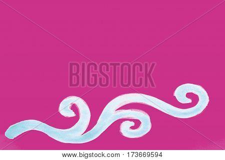 Beautiful old pink bright background with curvy hand drawn decoration