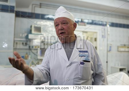 ST. PETERSBURG, RUSSIA - JANUARY 30, 2017: Head of department of thermal injury of I.I.Dzhanelidze Research Institute of Emergency Medicine professor Konstantin Krylov talks with journalists