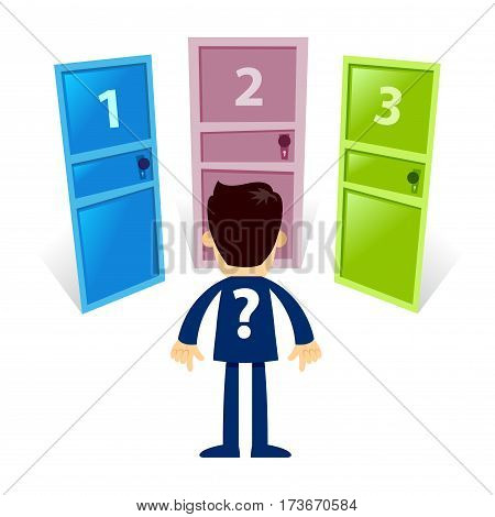 Vector stock of a businessman standing in front of three mysterious closed doors with numbers on it