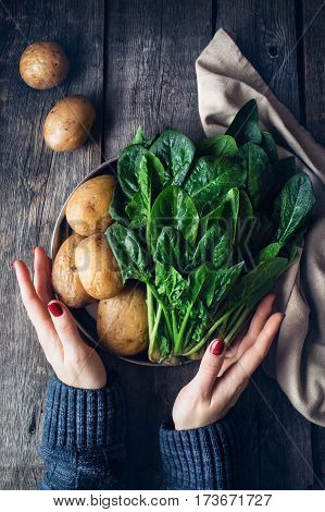 Potatoes With Fresh Spinach Flatlay