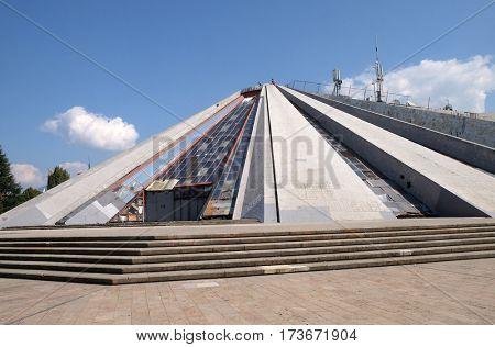 TIRANA, ALBANIA - SEPTEMBER 27: Pyramide in the center of Tirana, formerly an Enver Hoxha Museum, Tirana, Albania on September 27, 2016.