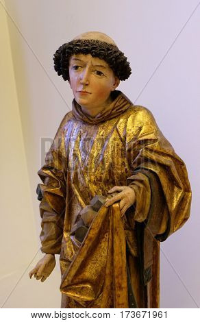 ZAGREB, CROATIA - JUNE 18: Saint Stephen Protomartyr, around 1490, the parish church of St. Vitus in Vrbovec, exhibited in the Museum of Arts and Crafts in Zagreb, on June 18, 2015.