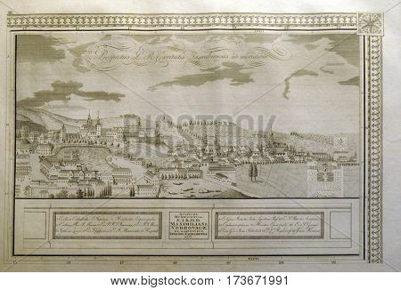 ZAGREB, CROATIA - FEBRUARY 15: View of the free royal city of Zagreb from the south from 1822, on February 15, 2015.