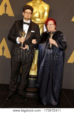 Anna Udvardy and Kristof Deak at the 89th Annual Academy Awards - Press Room held at the Hollywood and Highland Center in Hollywood, USA on February 26, 2017.
