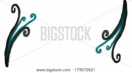 Spiral twirl curvy lines decor design white background