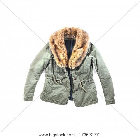 Warm khaki jacket with fur collar, isolated on white