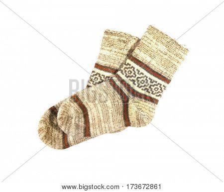 Warm socks on white background