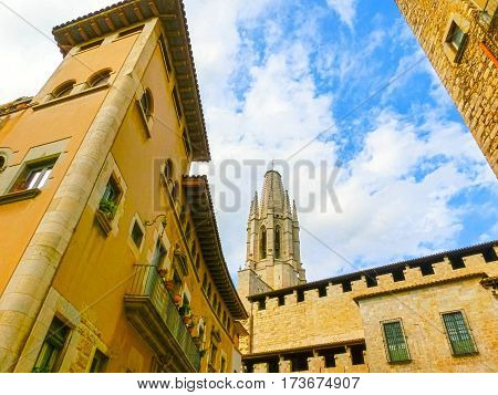 Aerial view of Saint Mary Cathedral in Girona, Catalonia, Spain
