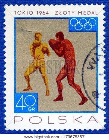 POLAND - CIRCA 1964: Postage stamp printed in Poland with a picture of a boxing, with the inscription