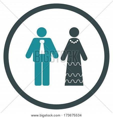 Newlyweds rounded icon. Vector illustration style is flat iconic bicolor symbol inside circle soft blue colors white background.