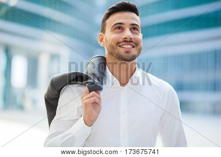 Confident smiling business man outdoor