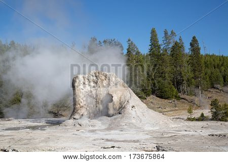 Giant geyser eruption in the Yellowstone national park, USA