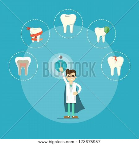 Male cartoon dentist in medical uniform and superhero blue cape holding dental mirror on blue background with teeth round icons, vector illustration. Dental office banner. Oral hygiene, tooth health