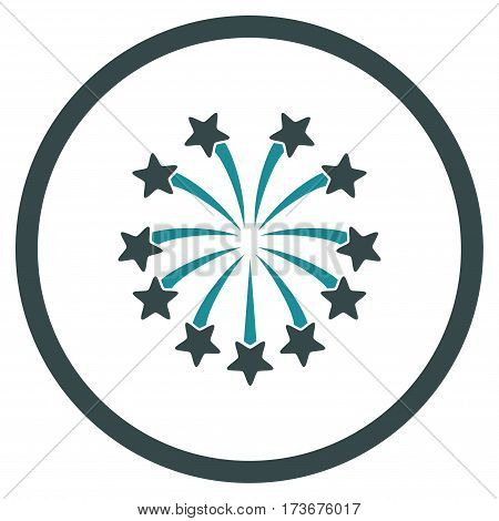 Spherical Fireworks rounded icon. Vector illustration style is flat iconic bicolor symbol inside circle soft blue colors white background.