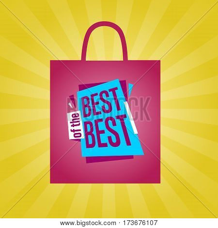 Best of the best sale sticker on package vector illustration. Exclusive offer tag, price discount promotion, super sale, advertisement retail label, special shopping symbol. Modern style offer sign.