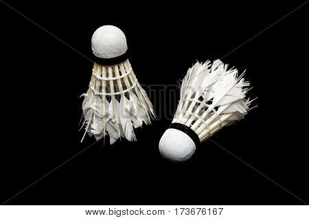 Bad condition badminton ball isolated on white background