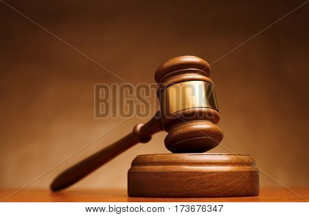 Gavel on court desk