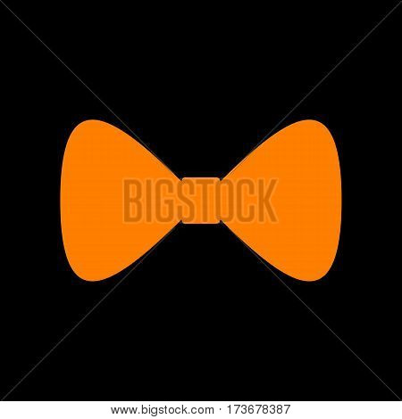 Bow Tie icon. Orange icon on black background. Old phosphor monitor. CRT.