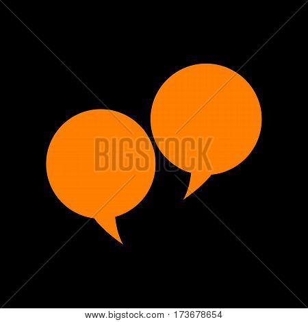 Speech bubble sign. Orange icon on black background. Old phosphor monitor. CRT.