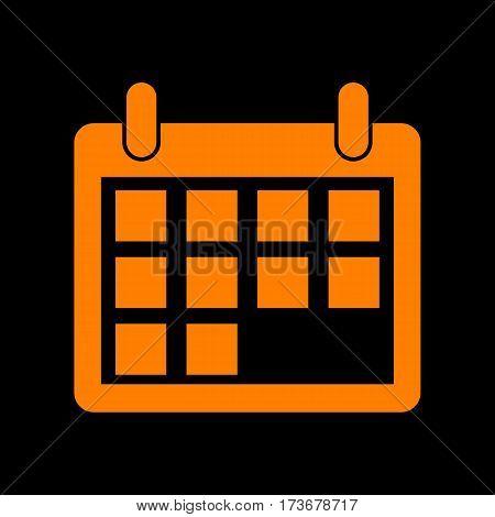 Calendar sign illustration. Orange icon on black background. Old phosphor monitor. CRT.