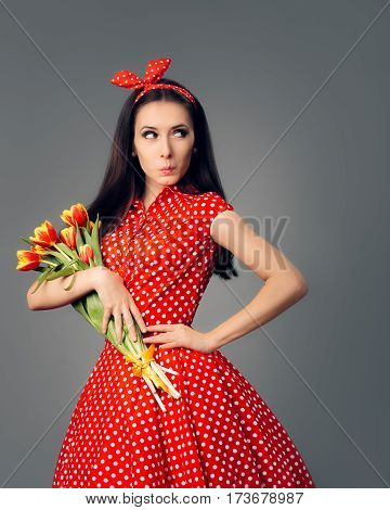 Surprised Girl in Retro Red Polka Dress with Tulips