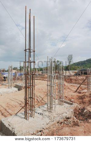 Column rebar work preparing for concrete work