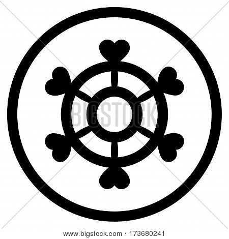 Lovely Boat Steering Wheel rounded icon. Vector illustration style is flat iconic symbol inside circle black color white background.