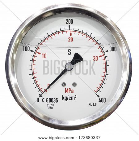 Pressure gauge in air isolated on white background, Pressure gauge in production process and old obsolete technology, electronic equipment Industry background
