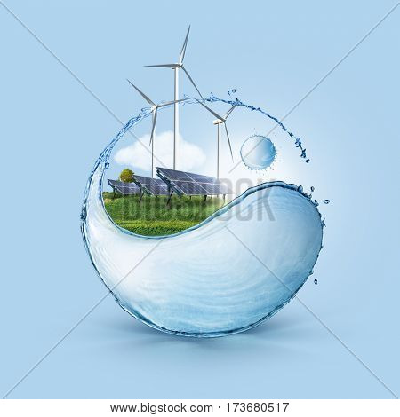 Wind turbine and solar cell grows in the field