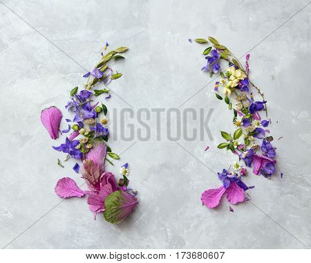 purple frame with flowers