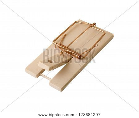 close up of mousetrap on a white background