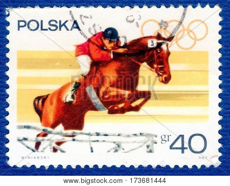 POLAND - CIRCA 1967: Postage stamp printed in Poland with a picture of a Equestrian sport, from the series