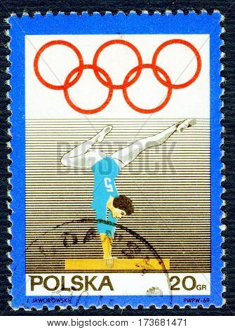 POLAND - CIRCA 1969: Postage stamp printed in Poland with a picture of a gymnastics, from the series