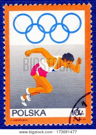 POLAND - CIRCA 1969: Postage stamp printed in Poland with a picture of a athlete runner, from the series