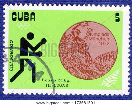 CUBA - CIRCA 1973: Postage stamp printed in Cuba with a picture of a boxing, with the inscription