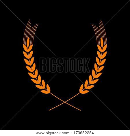 Wheat sign illustration. Spike. Spica. Orange icon on black background. Old phosphor monitor. CRT.