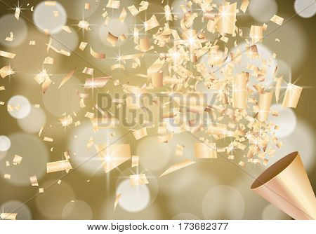 Exploding party popper on defocused blurred gold background