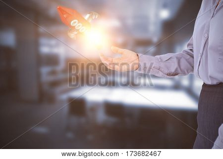 Businesswoman presenting with hand against tables in office cafeteria 3D