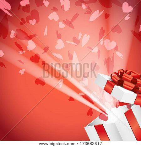 Open gift box with bright rays of light and flying hearts confetti